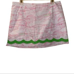 "Lilly Pulitzer Embroidered ""Alligator Growl"" Skort"